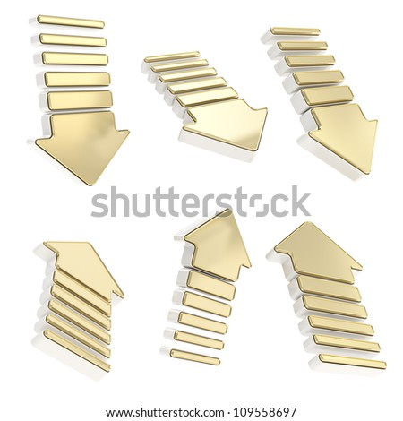 Group of golden metal arrows in six foreshortenings and milky plastic edging isolated on white background - stock photo