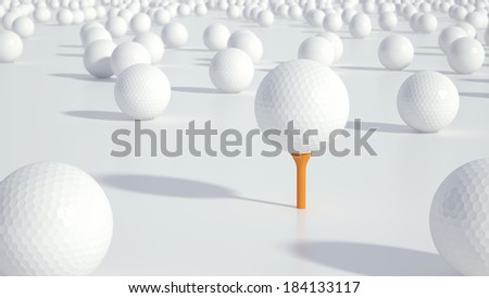 Group of golf balls with focus on the ball in the centre - stock photo