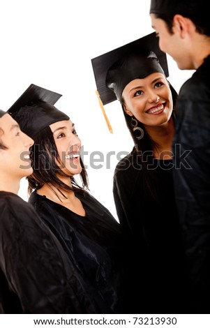 Group of graduates wearing a gown and mortarboard talking- isolated - stock photo