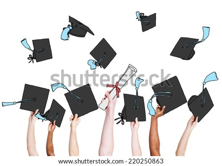 Group of Graduating Student's Hands Holding and Throwing Mortar Board - stock photo