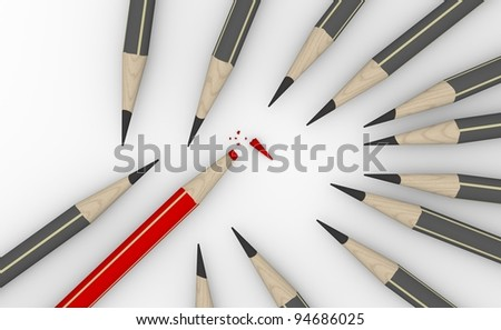 Group of gray pencils with a broken red one pencil - stock photo