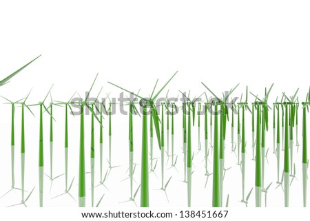 Group of green windmills - stock photo