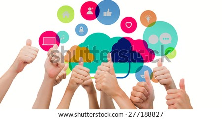 Group of hands giving thumbs up against apps and cloud computing concept - stock photo