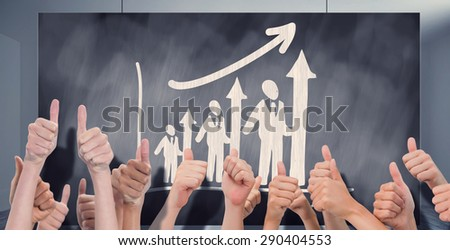 Group of hands giving thumbs up against composite image of black card - stock photo