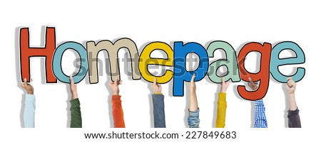 Group of Hands Holding Word Homepage - stock photo