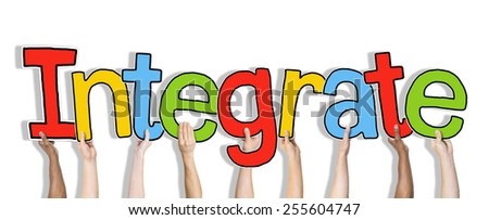 Group of Hands Holding Word Integrate Concept - stock photo