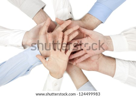 Group of hands with open palms together showing unity - stock photo