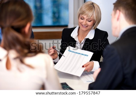 Group of happy business people conducting a meeting - stock photo