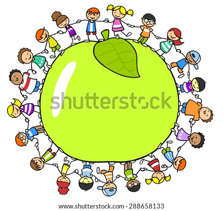 Group of happy children holding hands around a green apple - stock photo