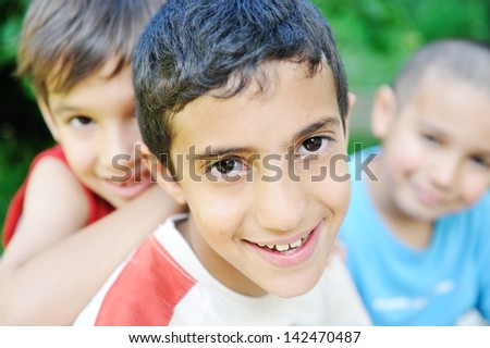 Group of happy children outdoor - stock photo