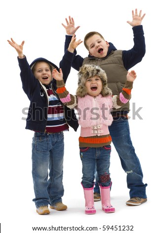 Group of 3 happy children posing together, lauging and waving. Isolated on white background. - stock photo