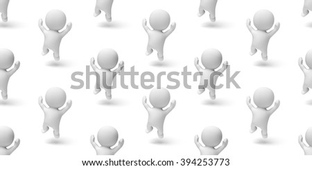 group of happy cute little characters jumping enthusiastically in a white scene (seamless texture) - stock photo