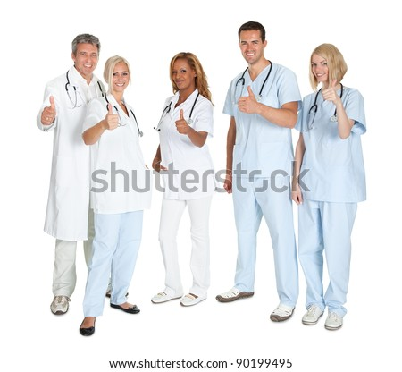 Group of happy doctors with thumbs up standing on white background - stock photo