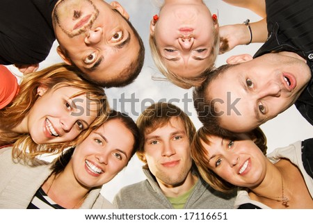 Group of happy friends making funny faces - stock photo