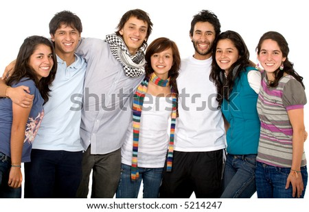 group of happy friends portrait where all look happy and smiling - stock photo