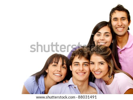 Group of happy friends smiling ? isolated over a white background - stock photo