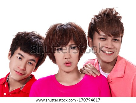 Group of happy friends together posing - stock photo