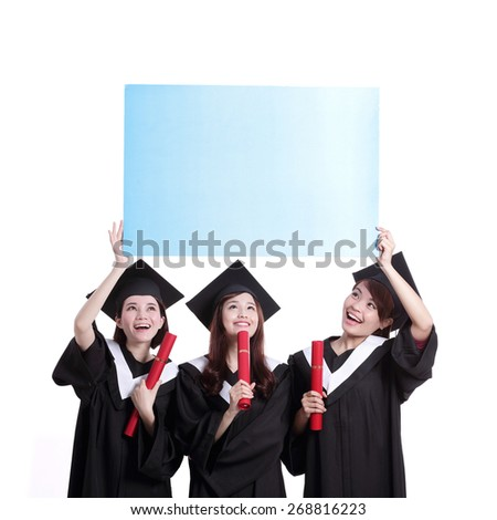 group of happy graduates student girl show blank billboard isolated on white background, asian - stock photo