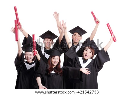 group of happy graduates student isolated on white background, asian - stock photo