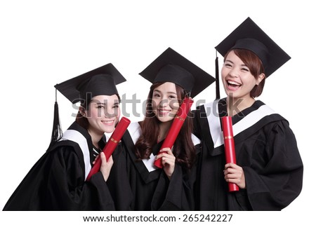 group of happy graduates student woman isolated on white background, asian - stock photo