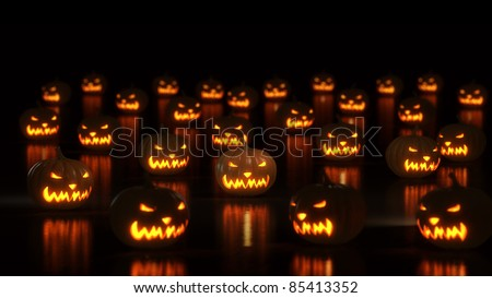 group of happy halloween pumpkins - stock photo