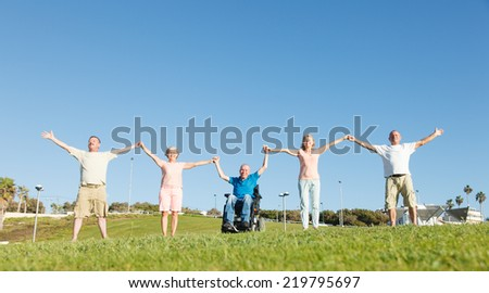 Group of Happy People smiling and show unity. - stock photo