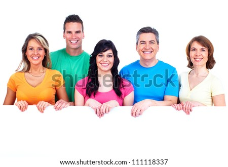 Group of happy people with banner. Isolated on white background. - stock photo