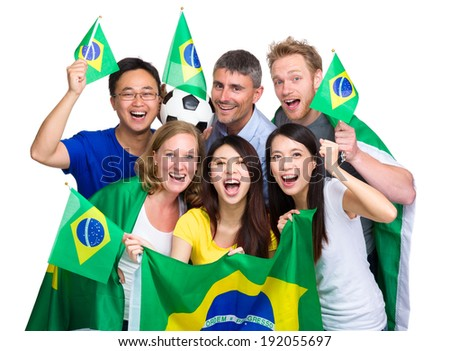 Group of happy soccer fans - stock photo