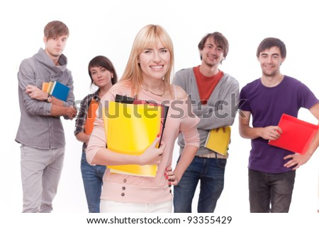 Group of happy students on white - stock photo