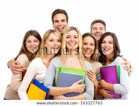 Group of happy students with books isolated on white background. - stock photo