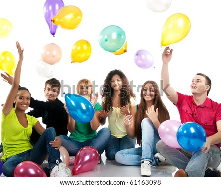 Group of happy teenagers. Isolated - stock photo