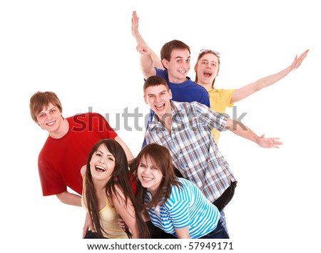 Group of happy young people with hand up. Isolated. - stock photo