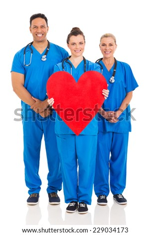 group of healthcare workers with heart symbol isolated on white background - stock photo