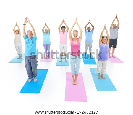 Group of Healthy People Exercising. - stock photo