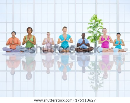 Group of Healthy People in the Fitness - stock photo