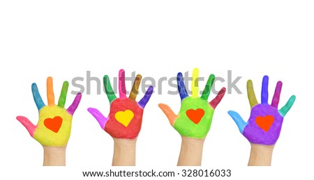 Group of helping hands with hearts on the palms. The care and the help concept. Isolated on white background - stock photo