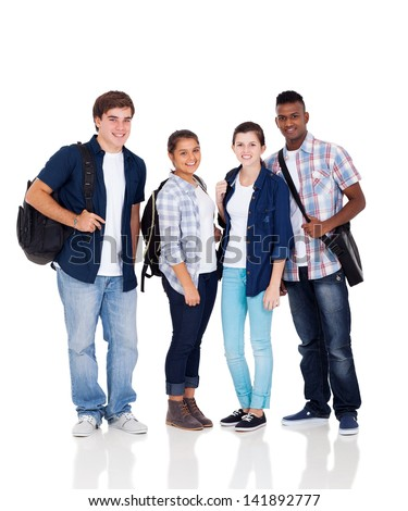group of high school students isolated on white - stock photo