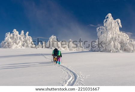 group of hikers with Sammy dog in winter mountains - stock photo
