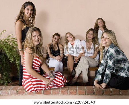 Group of Hispanic women at party - stock photo