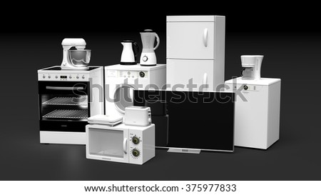 Group of home appliances isolated on black background - stock photo