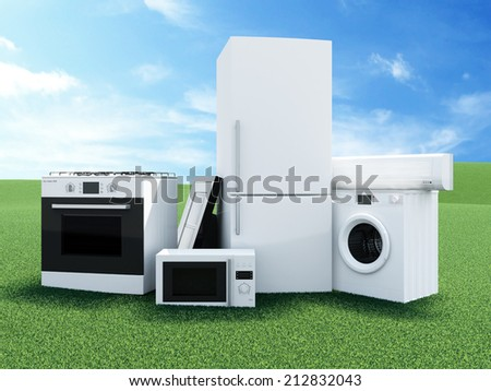 Group of home appliances on Beautiful Landscape with Clouds and Sun. Refrigerator, Gas cooker, Microwave, Cooker hood, Air conditioner and Washing machine. - stock photo