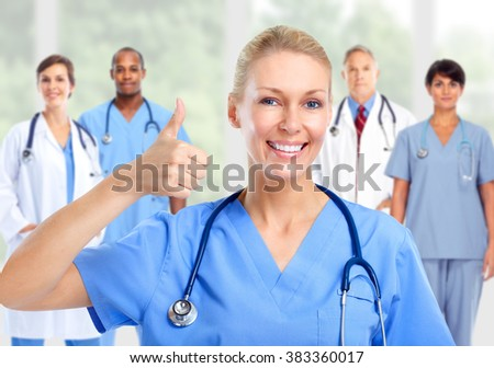 Group of hospital doctors. - stock photo