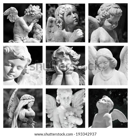 group of images with cemetery angelic figurines  - stock photo
