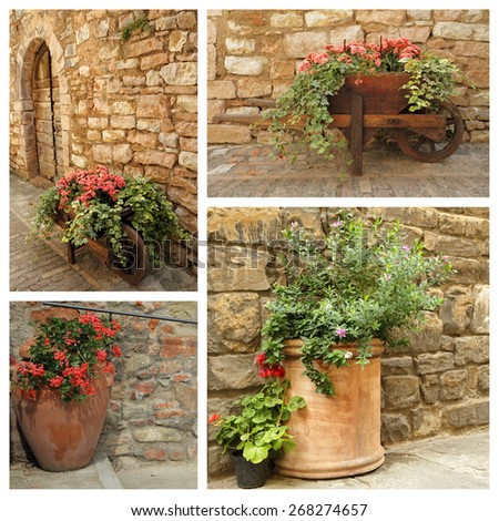 group of images with planters with flowers against old stonewall, Italy,Europe - stock photo