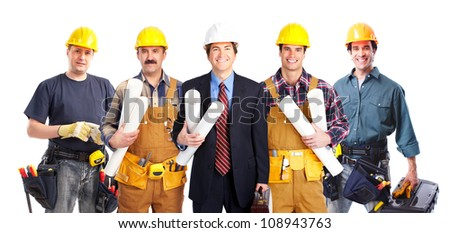 Group of industrial workers. Isolated over white background - stock photo