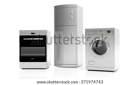 Group of inox home appliances isolated on white background - stock photo