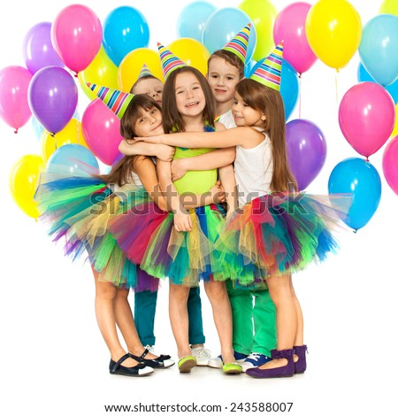 Group of joyful little kids having fun at birthday party. Isolated on white background. Holidays concept. - stock photo