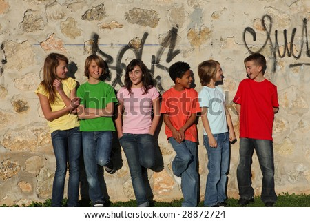 group of kids hanging out - stock photo