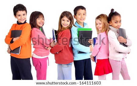 group of kids holding school books isolated in white - stock photo