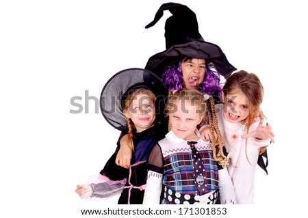group of kids on halloween - stock photo